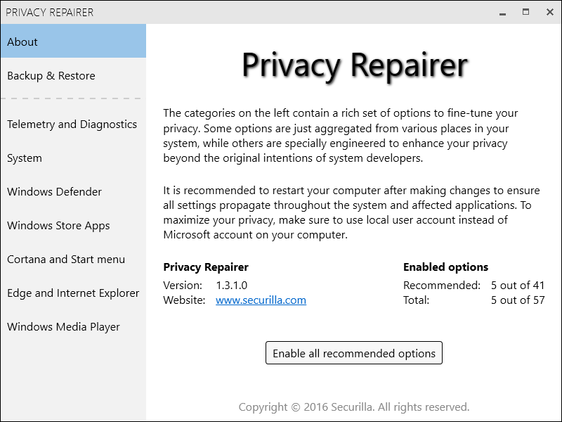 Privacy Repairer Screen shot